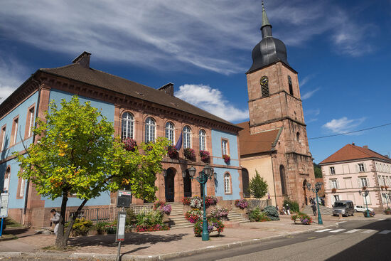 The town hall and church in the Vosges town of Sainte-Marie-aux-Mines. The town was once home to many Amish who in time emigrated to America (photo © hidden europe).