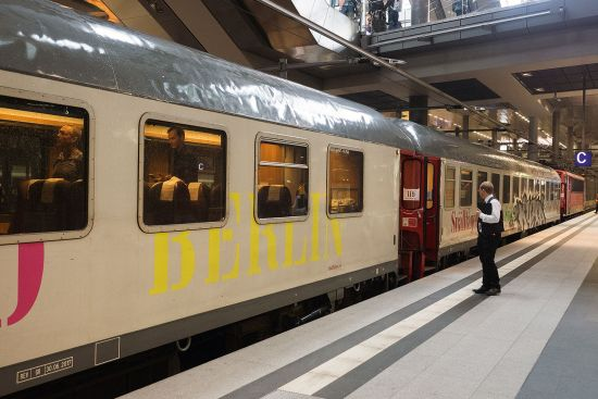 A rare departure from Berlin Hauptbahnhof — a direct train to Stockholm (photo © hidden europe).