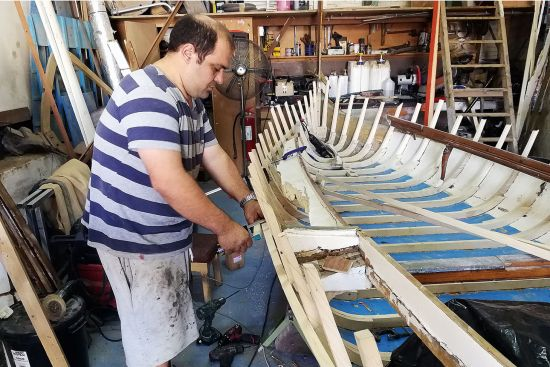 Traditional boatbuilder Andrea Delceppo in his Kalkara Creek workshop, Malta (photo © Duncan JD Smith).