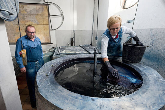Maria and Karl Wagner are traditional Blaudruck (indigo dyeing) textile artists - they are shown here in their workshop in Bad Leonfelden, Upper Austria (photo © Rudolf Abraham).