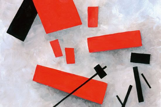 Not a real Malevich — but an illustration in the suprematist style that was popularised by artists at the People's Art School in Vitebsk in 1920 (image © Dorvard / dreamstime.com).