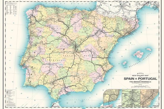 Just published in early 2020, Mike Hall's rail map of Iberia neatly combines cartographic tradition with modern styling (map and image © Mike Hall).