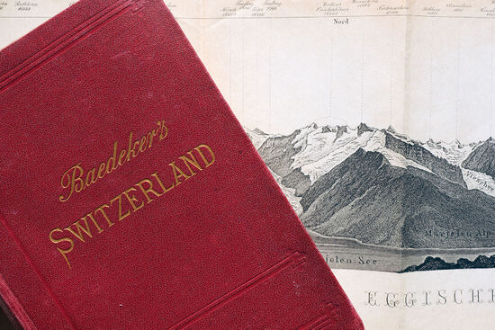 The strong Baedeker branding introduced in the late 1850s relied on distinctive red covers and gilded text. This cover shows a nice example of a Baedeker dagger on the initial letter 'S' in the title (photo © hidden europe).