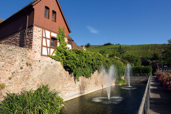 Water is a key element in Alsace townscapes: these fountains are at Riquewihr (photo © hidden europe).
