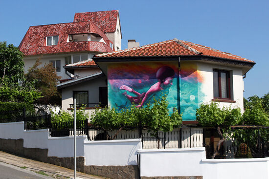 A colourful mural on a house in Ahtopol, on Bulgaria's Black Sea coast (photo © Laurence Mitchell).