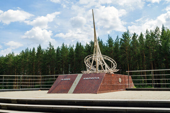 The ambiguity as to where the border between Europe and Asia lies has led to a proliferation of markers and monuments. This one, on the western outskirts of Ekaterinburg, is one of them (photo © Sergey Zavyalov / dreamstime . com).