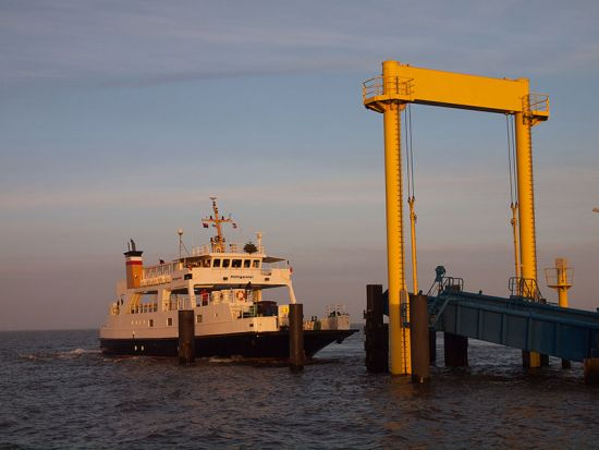 The Hilligenlei car ferry arriving at Hallig Hooge (photo © hidden europe).