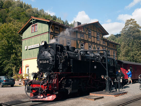 Taking water at Eisfelder Talmühle where the Selke Valley railway connects with the Trans-Harz route (photo © hidden europe).