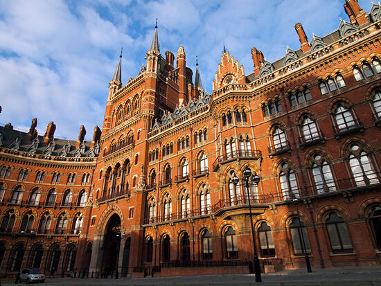 A feast of Victorian Gothic at London's St Pancras Station. The building houses the reopened station hotel, the St Pancras Renaissance (photo © hidden europe).