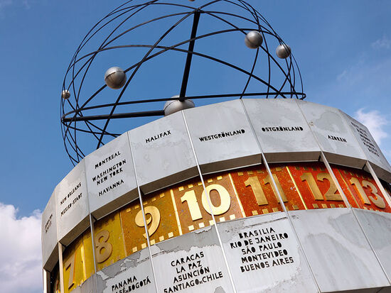 The world clock on Berlin's Alexanderplatz (photo © Patrick Poendl / dreamstime.com).