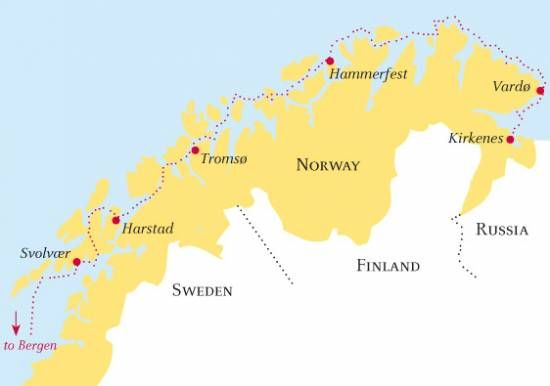 The red dotted line gives the approximate route that the Hurtigruten boats take on their long journey from Kirkenes to Bergen.