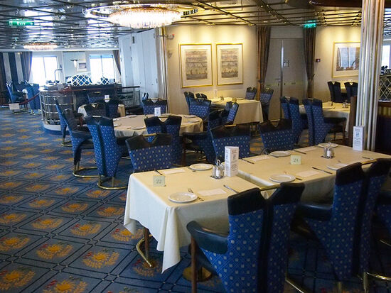 The restaurant on the Hurtigruten ship Kong Harald - the restaurant is used for breakfast, lunch and dinner (photo © hidden europe).