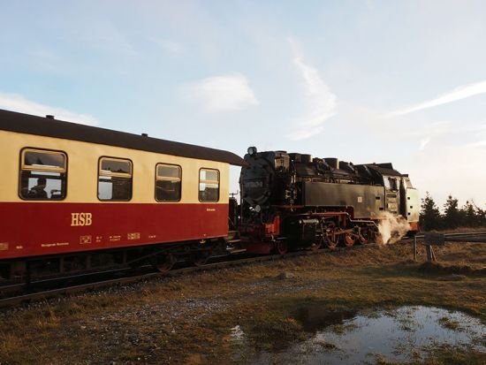 Narrow-gauge steam train at the top of the Brocken in Germany's Harz Mountains (photo © hidden europe).
