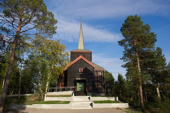 The church at Svanvik asserts Norwegian authority and identity in a region that borders onto Russia (photo © hidden europe).