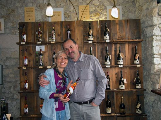 Jaro and Jarka Ostrozovic in the shop at their vineyard in Slovakia's tokaj wine region (photo © hidden europe).