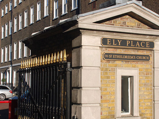 The entrance to Ely Place in London's Holborn district (photo © Duncan JD Smith).