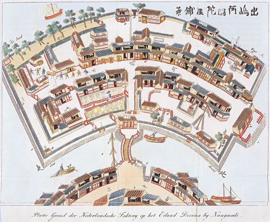 Isaac Titsingh's plan of the Dutch trading post on Dejima Island drawn up in 1824–1825 (the original is held by the Koninklijke Bibliotheek in Den Haag).