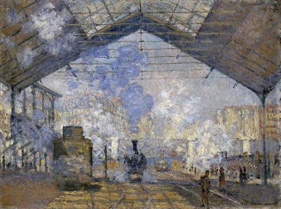 An 1877 Monet painting of Paris Saint-Lazare station. The original painting is in the collection of the Musée D'Orsay.