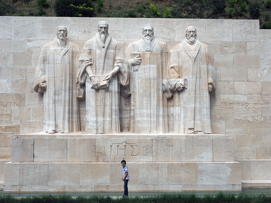 The centrepiece of Geneva's Mur des Réformateurs: sculptures of Beza, Calvin, Farel and Knox (photo © hidden europe).