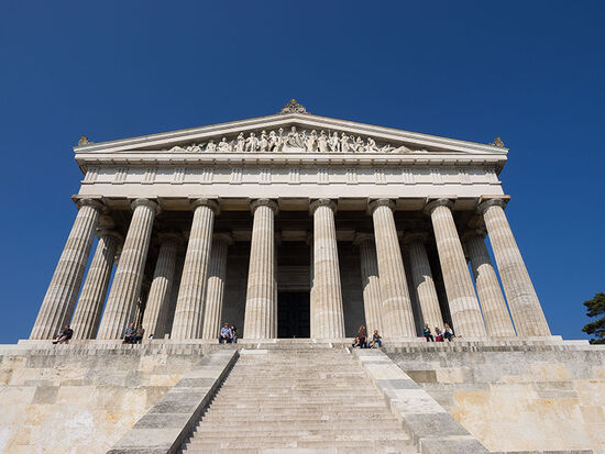 The 'temple' of Walhalla in the Danube Valleyappeals to classical style in its homage to the German nation (photo © hidden europe).