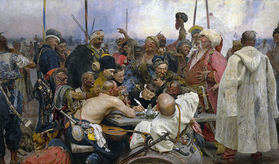 Ilya Repin's famous painting entitled 'Reply of the Zaporozhian Cossacks to Sultan Mehmed IV of the Ottoman Empire' in the collection of the State Russian Museum, St Petersburg.