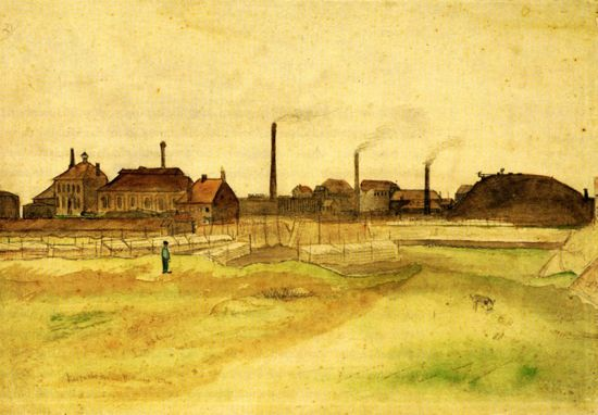 'Coalmine in the Borinage' (watercolour and pencil, 1879) by Vincent van Gogh. The original is held in the Van Gogh Museum in Amsterdam.