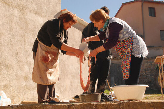 Cleaning pig's intestines at a matanza in Secastilla, Spain (photo © Kate Wilson).