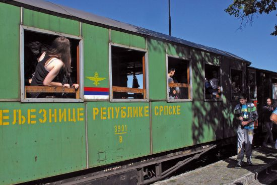 All aboard the Sargan Eight Railway in western Serbia. The train is at Sargan Vitasi station (photo © Laurence Mitchell).