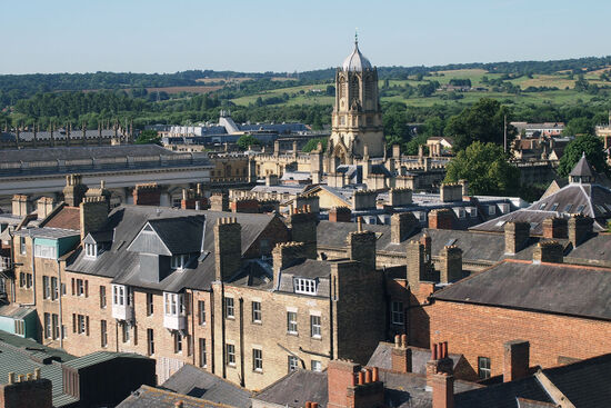 The view from the tower of the University Church on The High in the heart of Oxford reveals how the countryside nudges up close to the university city (photo © hidden europe).