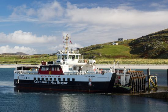 CalMac's MV Loch Alainn (seen here at Eriskay) plies the Sound of Barra (photo © hidden europe).