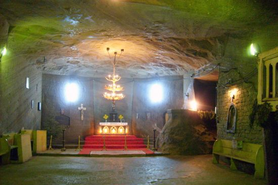 Underground Catholic chapel in the salt mine of Cacica, Romania (photo © Tomasz Kuran aka Meteor2017 licensed under CC BY-SA 3.0).