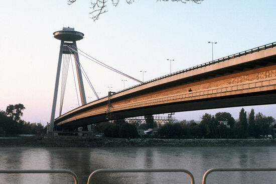 Novy most (New Bridge) that crosses the Danube and links Bratislava Old Town with the suburb of Petrzalka (photo © Ian Dorant).