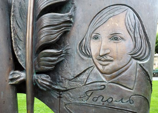 Monument to Nikolai Gogol in Vevey on the Montreux Riviera in Switzerland. Gogol was just one of many artists who enjoyed a sojourn by Lake Geneva (photo © hidden europe).