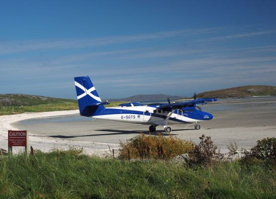 The island of Barra in Scotland's Outer Hebrides relies on a lifeline air link with Glasgow. Loganair's Twin Otter aircraft land on the beach at Barra (photo © hidden europe).