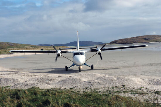 Landing on the beach in Barra. The island's airport is blessed with not one, not two, but three runways (photo © hidden europe).