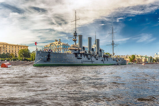 The Russian cruiser Aurora is anchored in St Petersburg and currently serves as a museum ship (photo © Marcorubino / dreamstime.com)