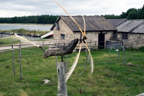 Former fishing station at Grynge on the east coast of the island of Gotland. It is typical of the fishing stations that the roofs abutted onto one another (as seen here at Grynge). That gave more protection against the elements (photo © hidden europe).