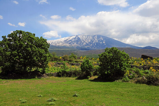 Sicily seen from the window of the slow train, with Mount Etna in the background (photo © Serjio74 / dreamstime.com).