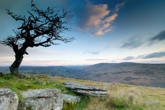 Devon offers a delectable mix of landscapes with wild granite moors overlooking verdant valleys. Sunrise at Combestone Tor on Dartmoor (photo © Thomas Dobner / dreamstime.com).