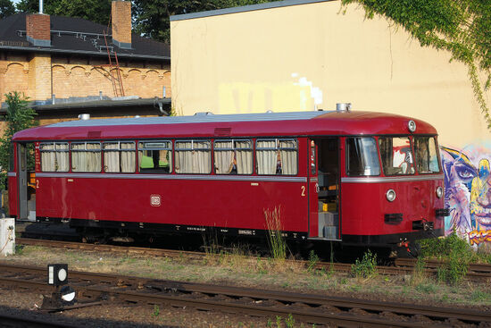 A 1950s-era West German railcar at Lichterfelde West station. This heritage railcar makes special journeys in the Berlin region, often traversing railway lines which are rarely used by passenger trains (photo © hidden europe).