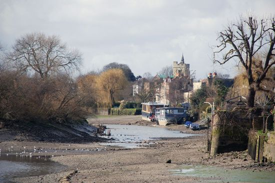 Old Chiswick and the Thames at low tide with Chiswick Mall on the right and Chiswick Eyot on the left (photo © Duncan JD Smith).
