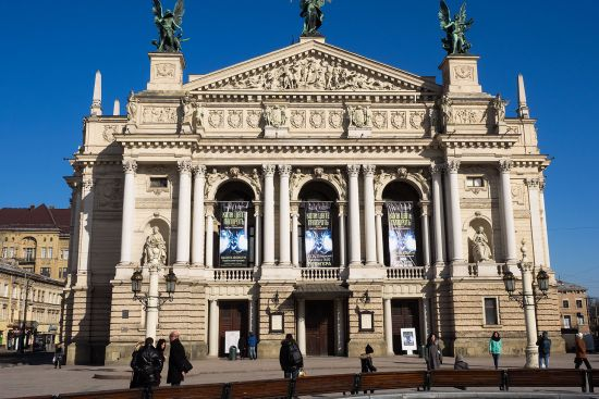 Lviv's opera house was opened in 1900. Its construction meant that the River Poltva had to be channelled underground (photo © hidden europe).