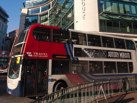 Urban style with a modern double-decker cruising through the middle of Birmingham (photo © hidden europe).