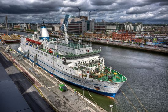 The Logos Hope, docked in Dublin in May 2009. Once a car ferry, the ship is now the world's largest floating bookshop (image courtesy of GBA Ships. Photographer: Thomas Brouwer).