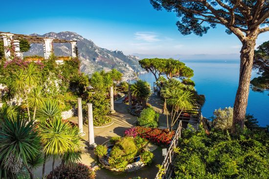 The gardens of the Villa Rufolo in Ravello overlook Italy's Amalfi coast (photo © Leonid Sorokin / dreamstime.com).